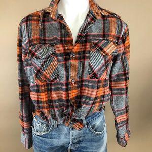 Vintage Thick Flannel Plaid Button Up Medium